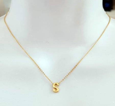 Colier personalizat cu initiala, placat cu aur [6]