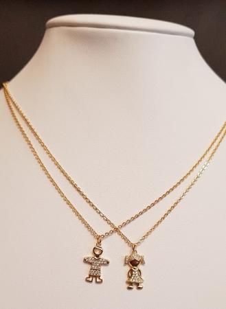 Colier placat cu aur, minimalist si stralucitor, cu pandant fetita sau pandant baietel, cu cristale Cubic Zirconia [2]