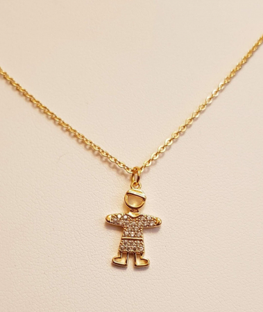 Colier placat cu aur, minimalist si stralucitor, cu pandant fetita sau pandant baietel, cu cristale Cubic Zirconia [4]