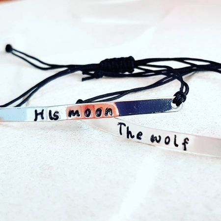 Set 2 Bratari personalizate, His moon, TheWolf, gravate pe placuta placata cu argint, cu snur special, ajustabil [1]