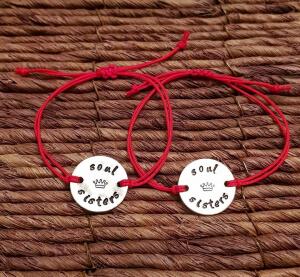 Set de 2 bratari personalizate, pentru BFF, Soul Sisters, gravate pe banut din aluminiu, cu snur special, ajustabil [2]