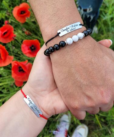 Bratari personalizate pentru cuplu cu nume si te iubesc, gravate pe placuta din aluminiu, ajustabile [2]