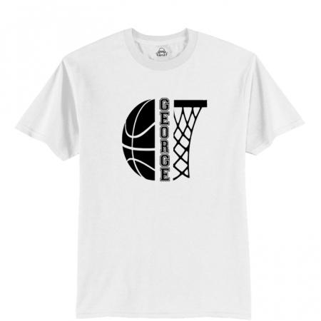 Tricou personalizat pentru copii, pentru pasionatii de baschet, cu nume si minge de baschet [2]