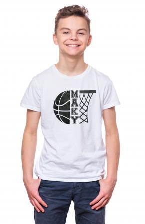 Tricou personalizat pentru copii, pentru pasionatii de baschet, cu nume si minge de baschet [0]