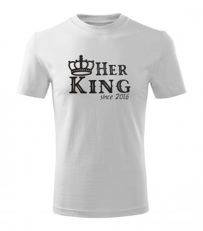 Tricouri personalizate pentru cuplu, Her King si His Queen, cu data relatiei [2]