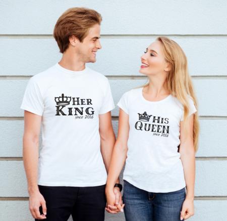 Tricouri personalizate pentru cuplu, Her King si His Queen, cu data relatiei [0]