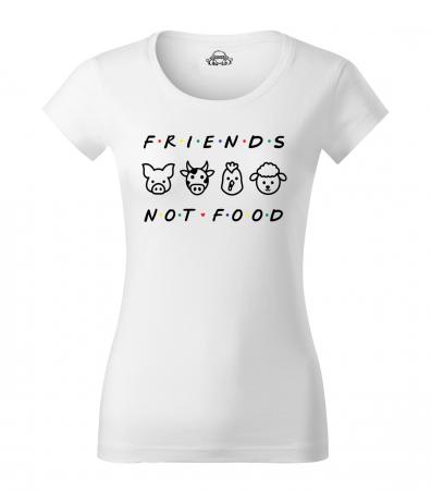 Tricou alb, personalizat Friends not Food, pentru vegani, vegetarieni [1]