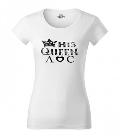 Tricouri personalizate pentru cuplu, Her King si His Queen, cu initiale si coronita [2]