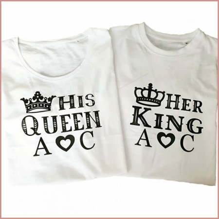 Tricouri personalizate pentru cuplu, Her King si His Queen, cu initiale si coronita [0]