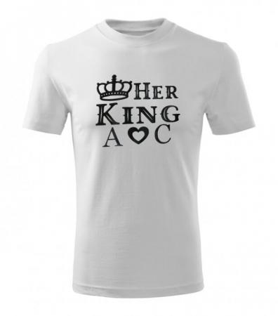 Tricouri personalizate pentru cuplu, Her King si His Queen, cu initiale si coronita [5]
