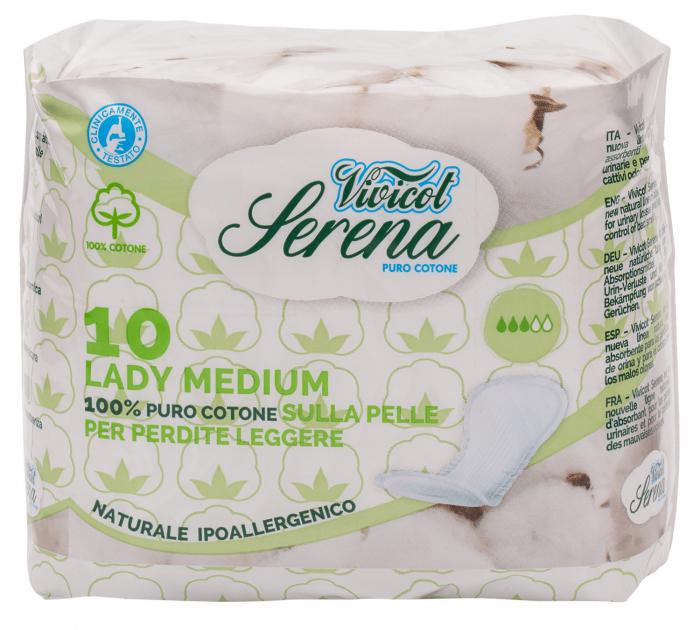Absorbante din bumbac natural, fara aripioare - Medium - 3 picaturi ( 10buc ) - VIVICOT Serena Lady [0]