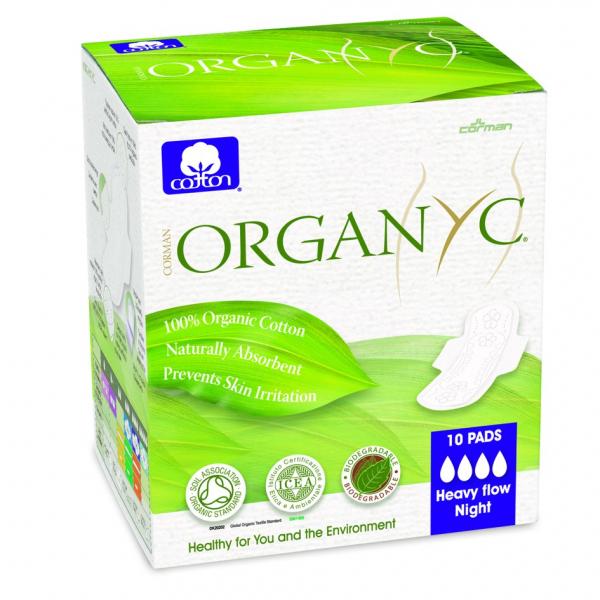 Absorbante intime din bumbac organic pentru noapte 10 buc Organyc 0
