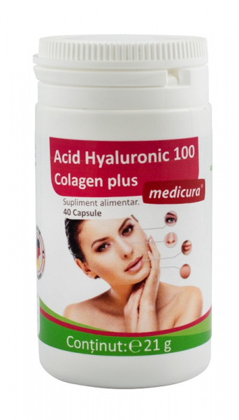 Acid Hyaluronic 100 colagen plus, 40 capsule Medicura 0