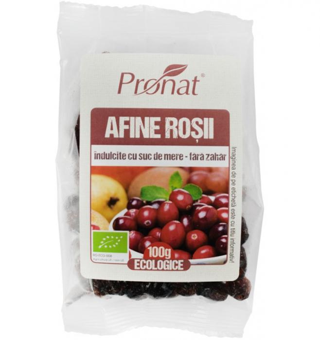Afine rosii bio indulcite cu suc de mere, 100G [0]