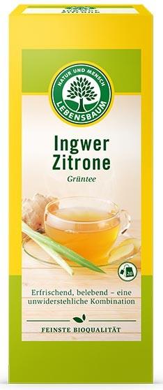 Ceai bio verde de ghimbir si lamaie, 20 plicuri x 2 g, 40 g LEBENSBAUM 0
