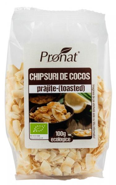 Chipsuri BIO din nuca de cocos, prajite (toasted), 100 g [0]