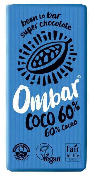 Ciocolata bio, 60% cacao neprajita (RAW), 35G OMBAR 0