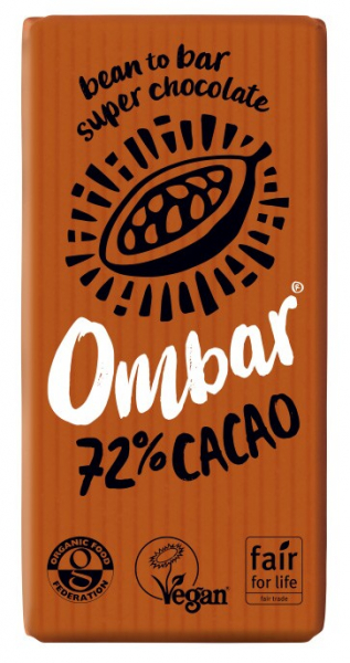 Ciocolata bio, 72% cacao neprajita (RAW), 35G OMBAR 0