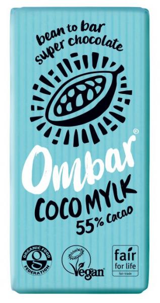 Ciocolata bio cu cocos, 55% cacao neprajita (RAW), 35G OMBAR 0