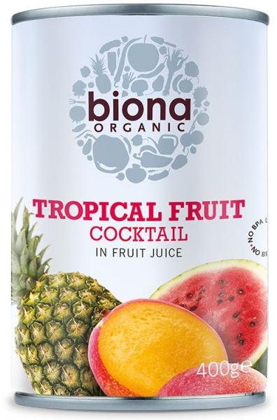 Cocktail de fructe tropicale in suc de fructe bio 400g Biona 0