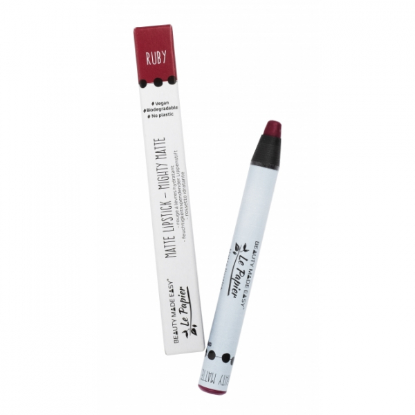 Creion - ruj hidratant mat, RUBY, zero plastic,  6 g 0