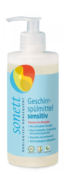 Detergent ecologic pentru spalat vase SENSITIVE, 300ml 0