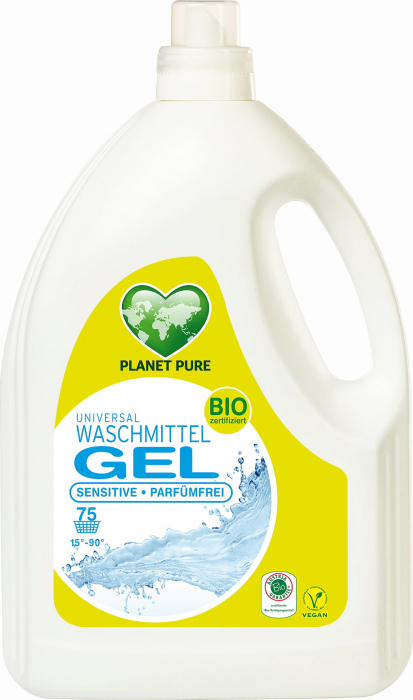Detergent GEL bio de rufe hipoalergenic -fara parfum, pentru pielea sensibila- 3 litri Planet Pure [0]