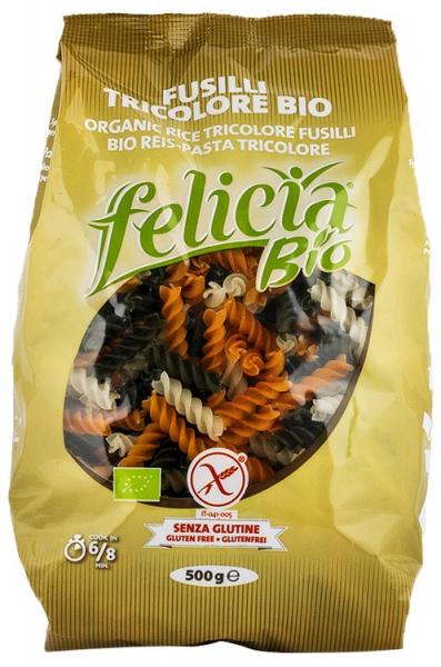 Fusilli BIO tricolore din faina de orez, 500 G Felicia 0