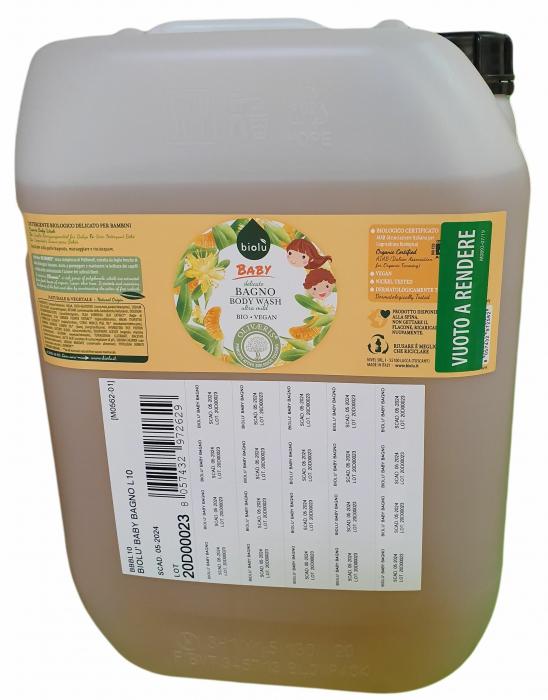 Gel de dus ecologic cu ulei de mandarin pentru copii, vrac, 10 L, Biolu 0