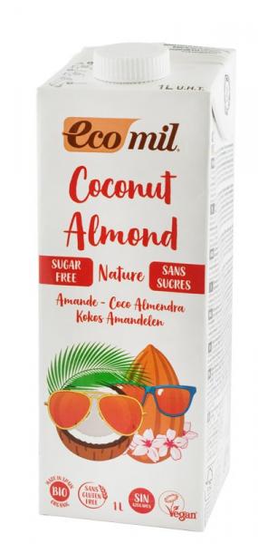 Lapte de cocos cu migdale fara zahar, Bio, 1L Ecomil 0