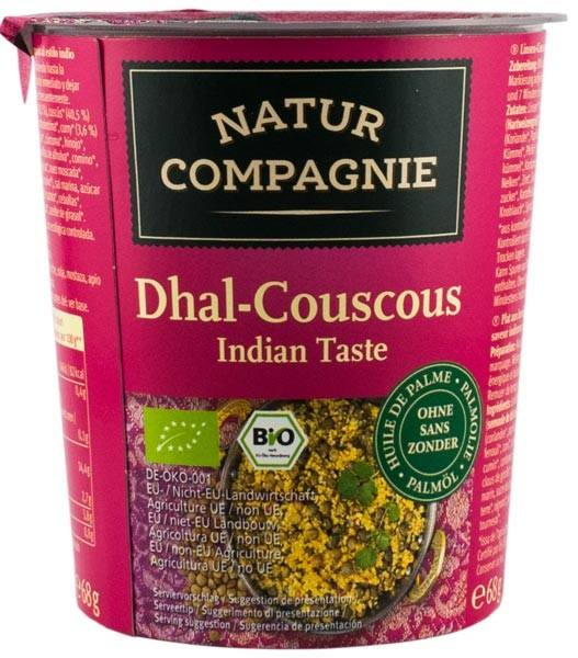 Mancare bio la pahar Dhal-Cuscus gust indian NATUR COMPAGNIE 0