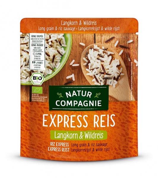 Orez BIO cu bob lung si orez salbatic, prefiert, Express Reis, 250 g Natur Compagnie 0