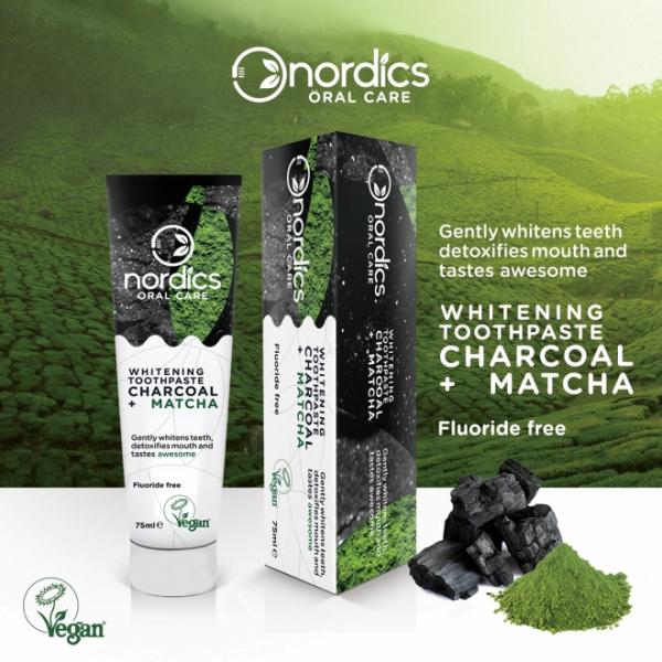 Pasta neagra de dinti cu carbune activ si ceai verde Matcha, pt. albirea dintilor, 75 g 0