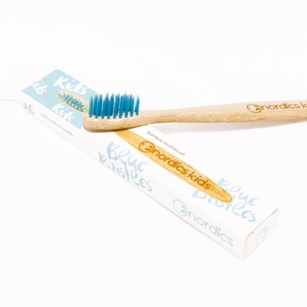 Periuta de dinti din bambus, pt. copii - albastru 0
