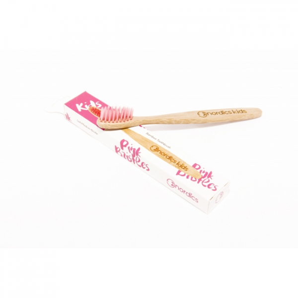 Periuta de dinti din bambus, pt. copii - roz 0