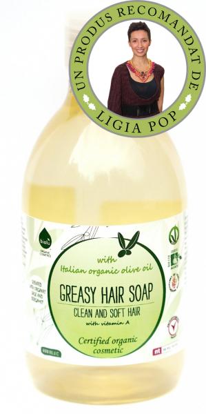 Sampon ecologic cu ulei de masline si vitamina A pentru par gras 300ml 0