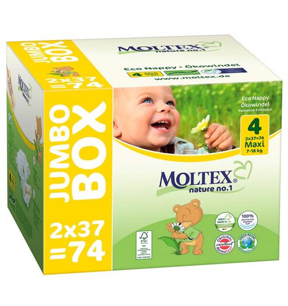 Scutece ECO pentru bebelusi (7-18kg), nr. 4, pachet Jumbo 74 buc 0
