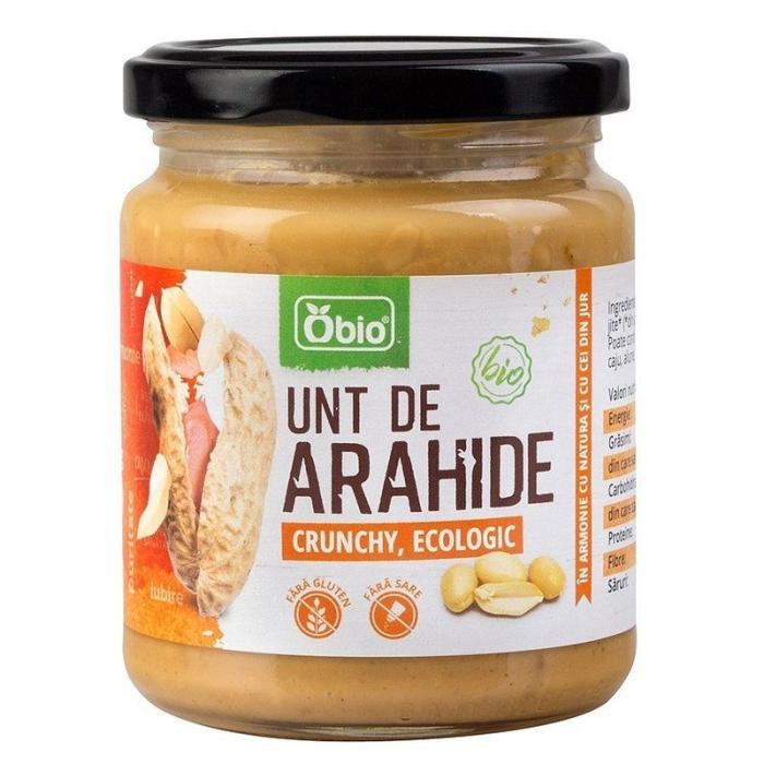 Unt de arahide crunchy bio 250g Obio 0