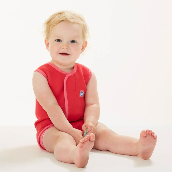 Costum neopren cu velcro bebeluşi - Baby Wrap™ Roz Geraniu 2