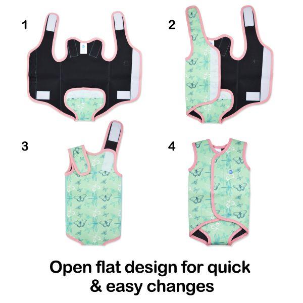 Costum neopren cu velcro bebeluşi - Baby Wrap™ Roz Geraniu 3
