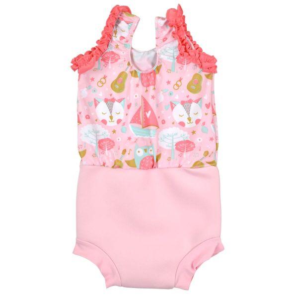 Costum înot/scutec de apă bebeluşi - Happy Nappy™ Bufnițe şi Pisicuțe 1