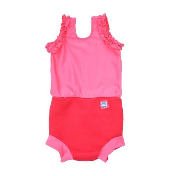 Costum înot/scutec de apă bebeluşi - Happy Nappy™ Roz Geraniu 0