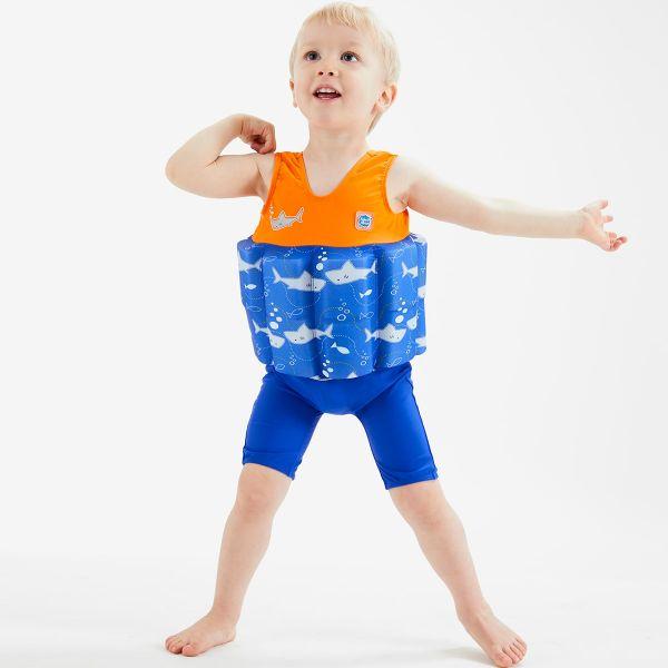 Costum înot plutitor baieti - Short John Floatsuit Rechinii Simpatici 2