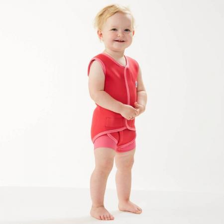 Costum neopren cu velcro bebeluşi - Baby Wrap™ Roz Geraniu1