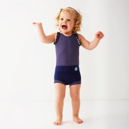 Costum înot/scutec de apă bebeluşi - Happy Nappy™ Buline Marine1