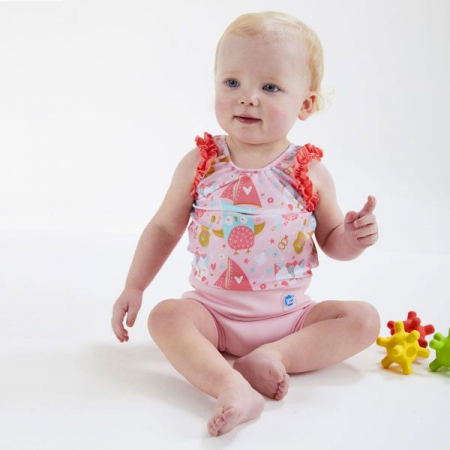 Costum înot/scutec de apă bebeluşi - Happy Nappy™ Bufnițe şi Pisicuțe2