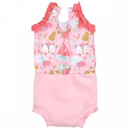 Costum înot/scutec de apă bebeluşi - Happy Nappy™ Bufnițe şi Pisicuțe1