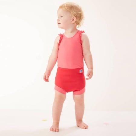Costum înot/scutec de apă bebeluşi - Happy Nappy™ Roz Geraniu2