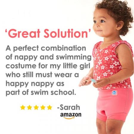 Costum înot/scutec de apă bebeluşi - Happy Nappy™ Roz Geraniu4