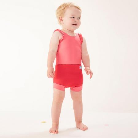 Costum înot/scutec de apă bebeluşi - Happy Nappy™ Roz Geraniu1